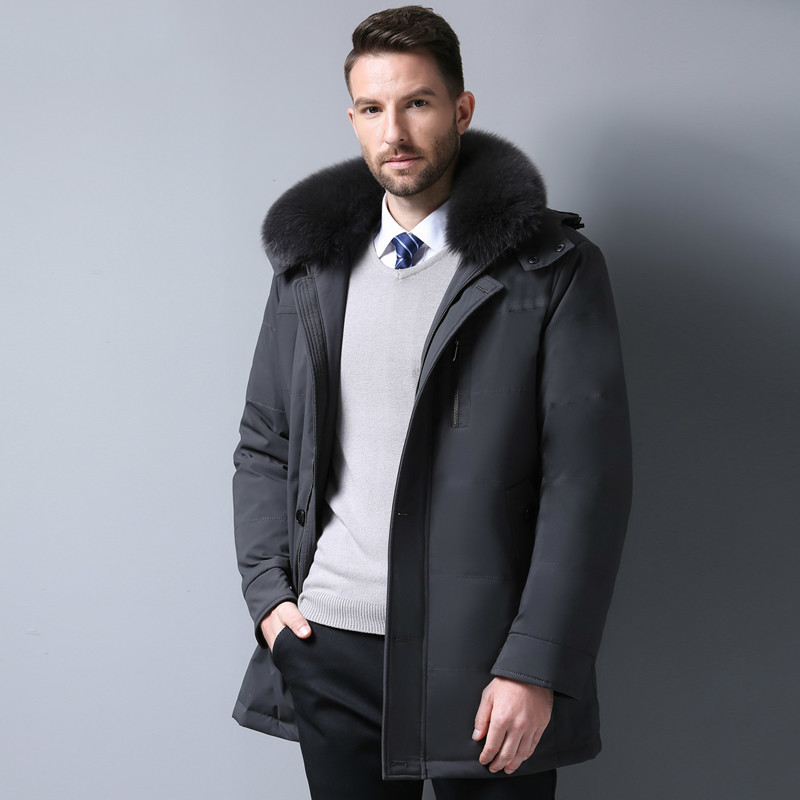 Winter Coat Men's Down Jacket Plus Size Long Down Coat With Real Fox Fur Hood Middle-aged Detachable Liner Parka KJ659