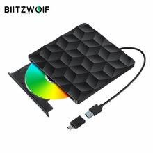 BlitzWolf-BW-VD1 USB 3,0, reproductor de DVD externo tipo C, Unidad óptica, transmisión rápida de 5Gbps para Macbook, PC, portátil y de escritorio