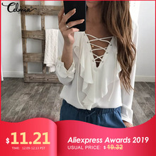 Celmia Womens Summer Blouse 2019 Chiffon Blouse Sexy Top Lace Up V Neck Ruffle Long Sleeve