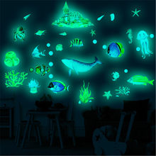 Mundo subaquático luminoso animal adesivos de parede para quarto dos miúdos do bebê brilho no escuro tubarão peixe marinho fluorescente adesivo