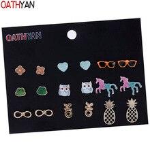 OATHYAN 9 Pairs/Set Newest Enamel Heart Flower Owl Unicorn Small Stud Earrings Set Gifts Jewelry Golden Metal Pineapple Earring