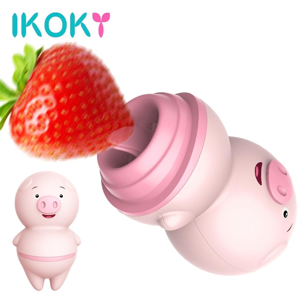 IKOKY Cute Pig Tongue Licking Vibrator Vagina Clitoris Stimulator 6 Modes Nipple Massager Sex Toys For Woman Female Masturbator