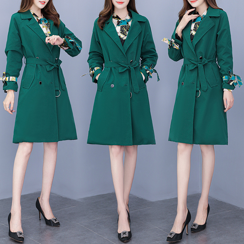 Plus Size Women Knee Length Dress Suits Sashes Double Breasted Long Blazer and Long Sleeve Dresses Work Ladies Office 2piece Set