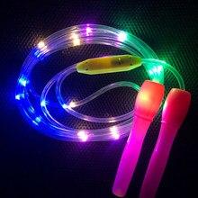 Luz para cima pular cordas led saltando cor aleatória crianças único corpo luminoso exercício de fitness