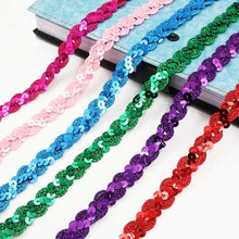5M*1.5cm Shiny Multicolor Sequins Lace Fabric Trims For Wedding Decor DIY Handmade Crafts Ribbon Fabric Garments Sewing Supplies