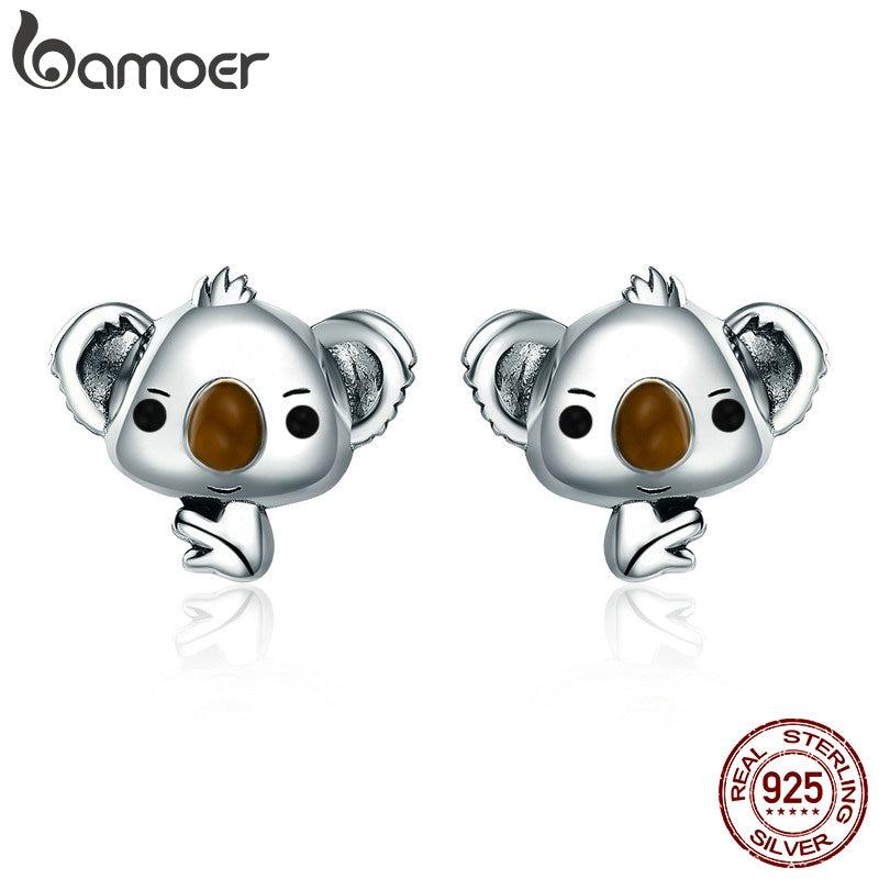 BAMOER Genuine 100% 925 Sterling Silver Animal Cute Koala Bear Stud Earrings For Women Sterling Silver Jewelry Gift SCE381