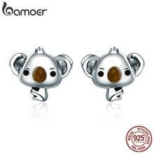 BAMOER Genuine 100% 925 Sterling Silver Animal Cute Koala Bear Stud Earrings for