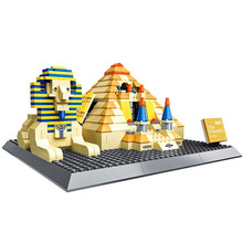цена на New Architecture Great Pyramid Of Giza World Famous Skyline Building Blocks Sets Bricks Classic Model Kids Toys for Children