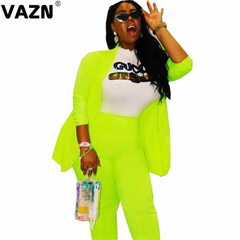 Vazn jly19023 가을 플러스 크기 젊은 untidy 섹시한 공식적인 패션 전체 슬리브 오픈 스티치 긴 바지 슬림 여성 2 조각 세트