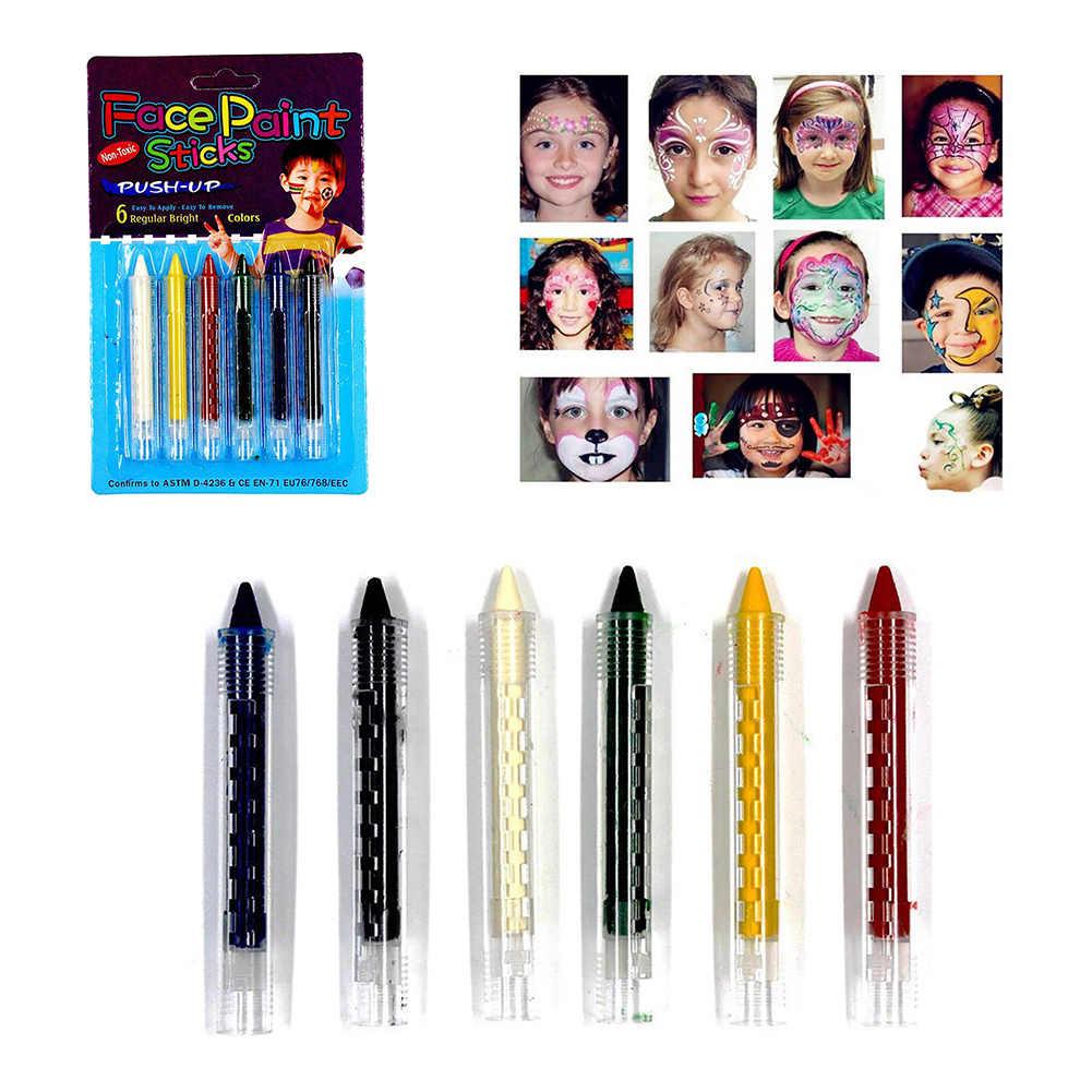 6Pcs Body Art ภาพวาดสีปากกาเครื่องสำอางค์แต่งหน้าเครื่องสำอางฮาโลวีน Party ดินสอ Splicing โครงสร้าง Crayon คริสต์มาส Stick