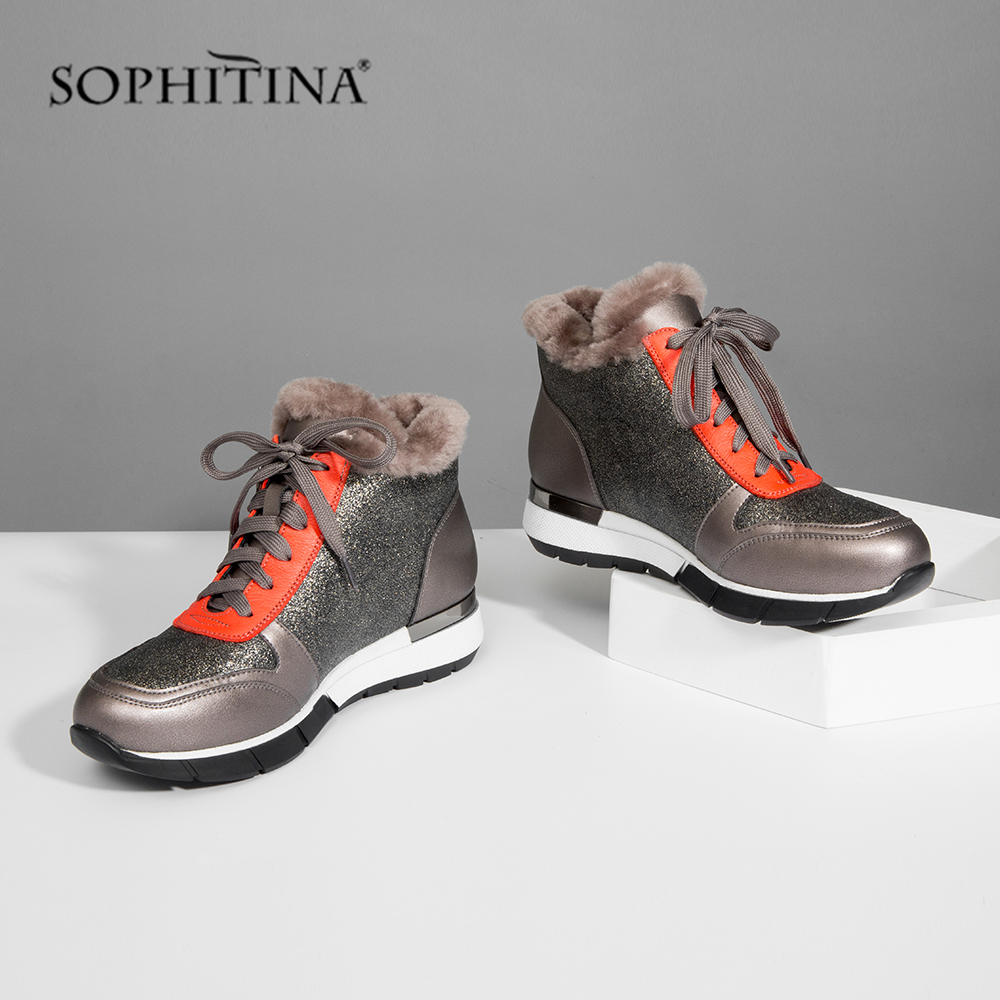 SOPHITINA Genuine Leather Women's Flats Winter Mixed Colors Round Toe Casual Lace Up Shoes New Outside Comfortable Flats PC349