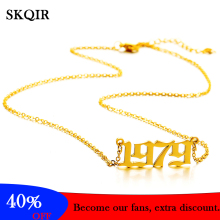 Fashion 1979 Year Pendant Necklace Anniversary Stainless Steel Cutting Num Charm Choker Jewelry for Grandpa Men Women Gift bofee long vintage cross chain punk necklace pendant stainless steel choker charm metal male fashion jewelry gift for women men