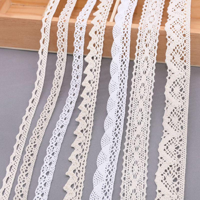 5/10 metre beyaz pamuk işlemeli dantel Trim kurdela kumaş DIY el yapımı zanaat giysi dikiş aksesuarları malzemeleri