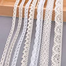 5/10Yards White Cotton Embroidered Lace Trim Ribbons Fabric DIY Handmade Craft Clothes Sewing Accessories Supplies(China)