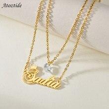Atoztide Angepasst Mode Edelstahl Name Birthstone Personalisierte Brief Gold Doppel Schicht Diamant Halskette Anhänger Geschenk