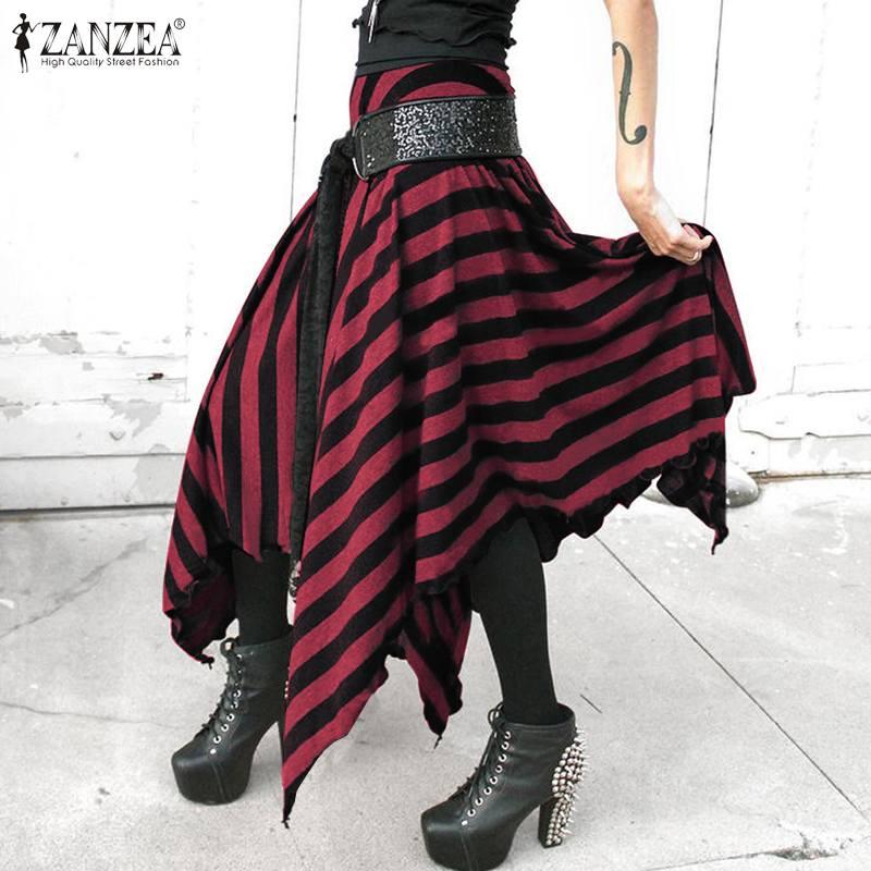 Women's Asymmetrical Skirt ZANZEA Bohemian Striped Maxi Sundress Casual Elastic Waist Faldas Saia Female Spring Robe Plus Size 7