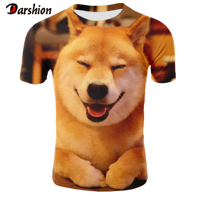 Estate O-Collo di Modo Shiba Lnu T-Shirt Pet Dog T-Shirt 3D Stampato Cute Dog T-shirt da Uomo Breve manica Magliette E Camicette