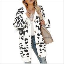 Women's cardigan 2020 new spring, autumn, winter, new style, long, long, light, cuff, leopard cardigan.