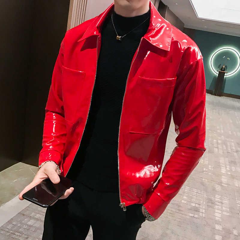Baru Jaket Kulit Mengkilap Pria Jaket dan Mantel Merah Kopi Hitam Kostum Panggung Klub Malam Penyanyi Pesta Klub Jaket Pria pakaian