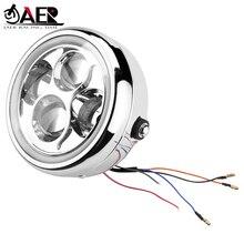цена на JAER 6.5 LED Motorcycle Headlight Head Lamp light Bulb for Harley Sportster Bobber Cafe Racer Yamaha Honda Head Light