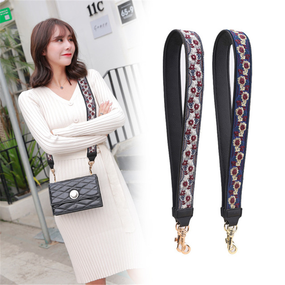 New Adjustable Shoulder Straps Embroidery Strap Leather Wide Shoulder Bag Accessories for Women Replacement Guitar Strap You