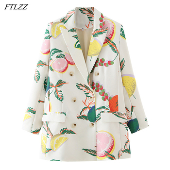 FTLZZ 2021 Spring Double-breasted Sweet Blazer Women Autumn Splicing Printing Jacket Fashion Office Coat High Street Coats 1