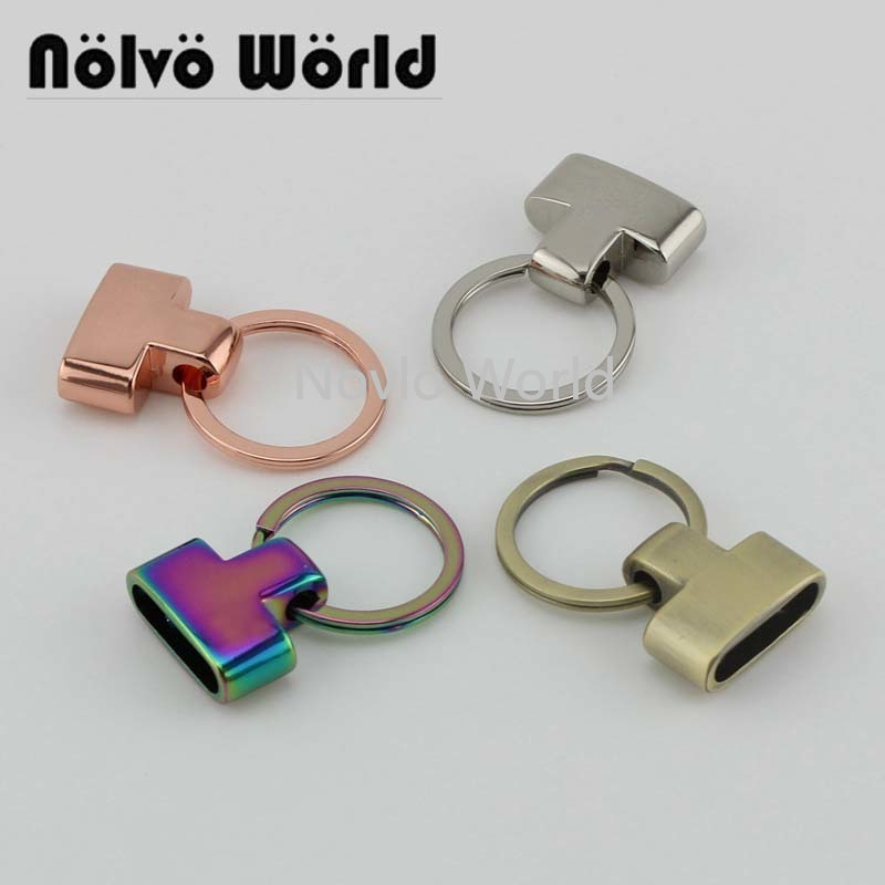 10-30pcs 4 Colors 13mm Key Split Rings Fob Hardware With Key Ring Spilt Ring For Webbing Cord End FOB Clasps