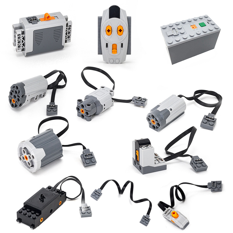 ><font><b>Technic</b></font> Building Blocks Series Compatible <font><b>legoINGLY</b></font> moc Train Motor Remote Receiver Battery Box model sets Toy For Kids