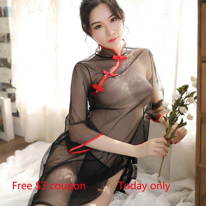 Прозрачное сексуальное экзотическое женское белье костюмы Cheongsam Разделение короткий комплект с юбкой и футболкой для телефона в виде ретро...