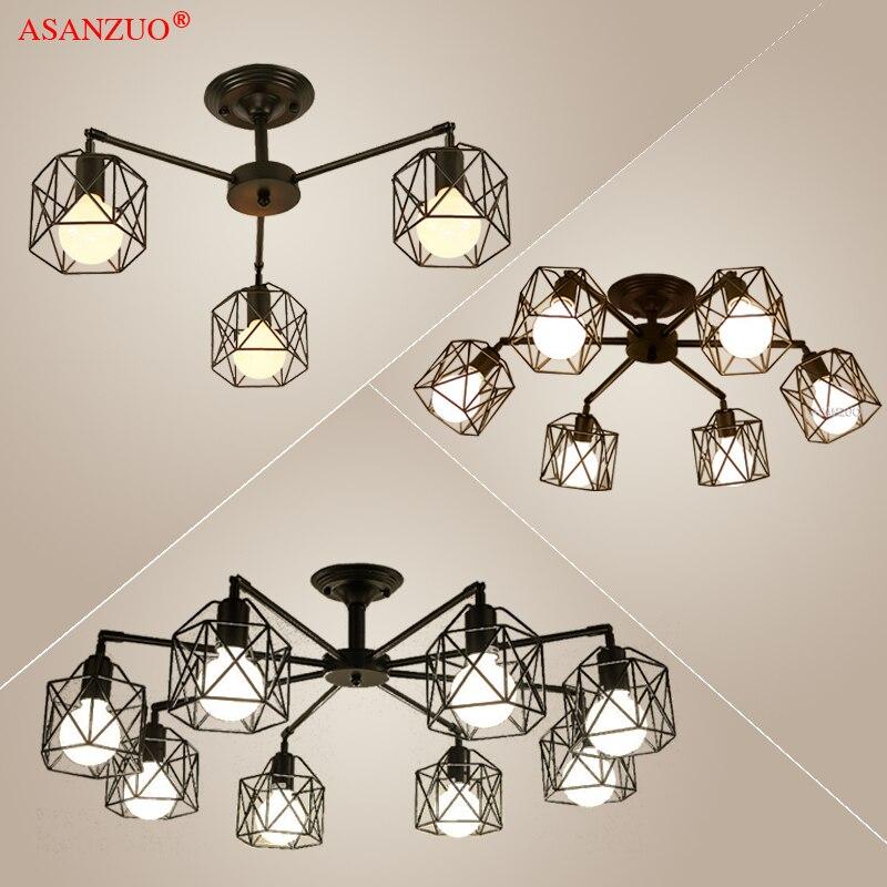 أضواء الثريا الأسود الحديثة الأمريكية قفص حديدي مصباح السقف تركيبات إضاءة luminiare المطبخ غرفة نوم غرفة المعيشة ضوء المنزل