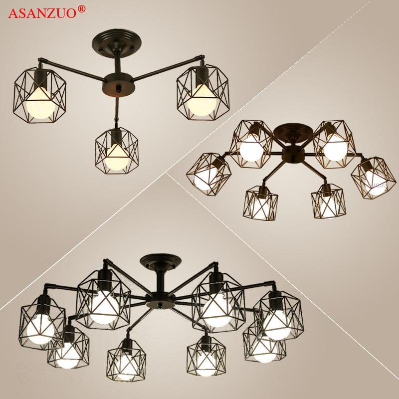 Lustre moderne noir, éclairage de la Cage en fer américain, lampes de plafond, luminaires de cuisine, éclairage de la chambre à coucher, salon, éclairage de la maison