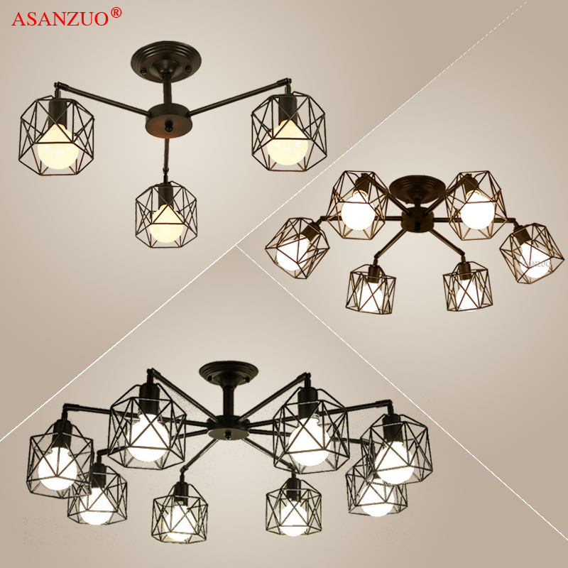 Modern Black Chandelier Lighting American Iron Cage Ceiling Lamp Light Fixtures Kitchen luminiare Bedroom Living Room Home Light