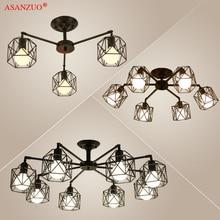 Modern Black Chandelier Lighting American Iron Cage Ceiling Lamp Light Fixtures Kitchen luminiare Bedroom Living Room Home Light