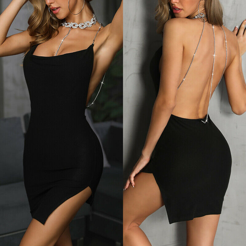 Women <font><b>Sexy</b></font> <font><b>Deep</b></font> <font><b>V</b></font> Neck Halter Backless Strappy Glitter Bodycon Wrap <font><b>Dress</b></font> <font><b>Sexy</b></font> Ladies Halter Neck Evening Party Club Mini <font><b>Dress</b></font> image