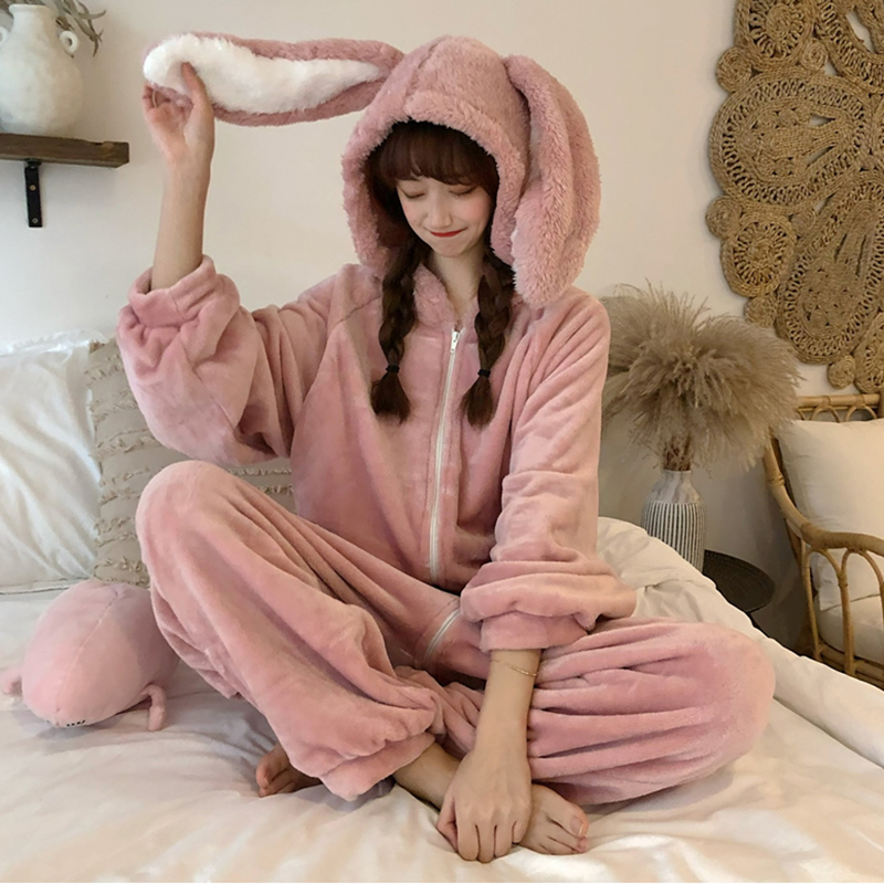 Warm Onepiece Hooded Bunny Pajama Jumpsuit Women Cartoon Animal Ear Onesie Cosplay Sleepwear Adult Pink Rabbit Pajamas Overalls