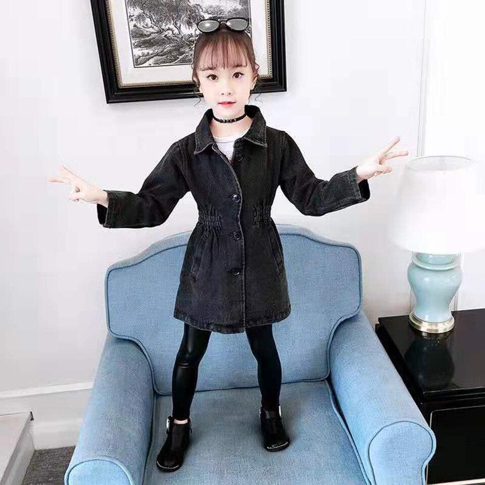 Новинка 2019 года, весенне-осенние джинсовые куртки верхняя одежда для маленьких девочек, пальто детская теплая верхняя одежда черного цвета,...