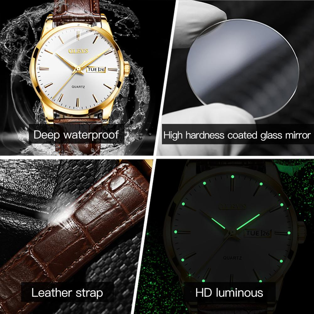 OLEVS 2020 New Best Selling Mens Watches Luminous Dual Display Leather Waterproof Sport Quartz Watch For Men Relogio Masculino 6