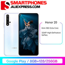 Honor – téléphone portable 20, Rom Global, Kirin 980 Octa Core, 8 go de RAM 256 go de RAM, 3750mAh, Super Charge, 6.26 pouces, prise en Charge de Google Play