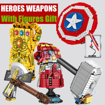 New Super Iron Hero Toy Weapon Thanos Thor Man Infinity Gauntlet Mjolnir Star Stormbreaker Wars Technic Building Block Brick Kid lepin 06052 1010pcs ninja super hero explosive device hulkbuster building block compatible 70615 brick toy