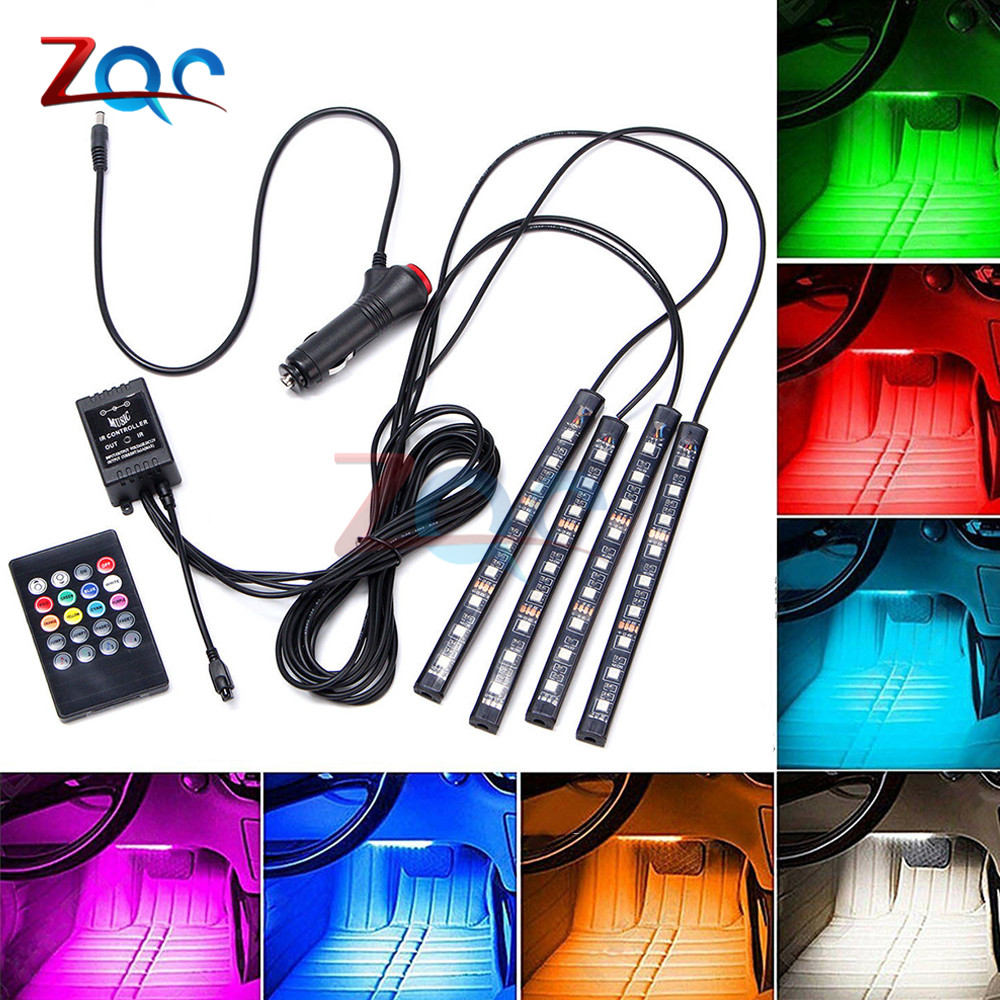 4pcs LED Strip Car RGB Lights Colorful USB SMD5050 DC 5V 12V Waterproof Flexible Tnterior Light Tape Voice Music Activated Neon