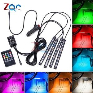 4pcs LED Strip Car RGB Lights