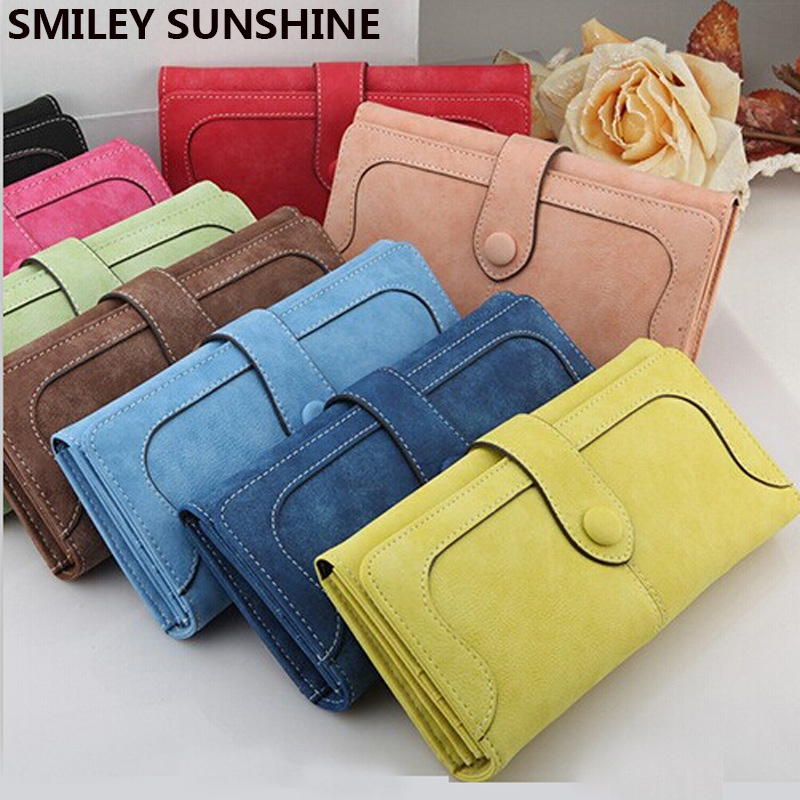SMILEY SUNSHINE Brand Wristlet Women Wallets 2018 Female Leather Long Red Wallet Big Women Purses Monederos Portefeuille Femm