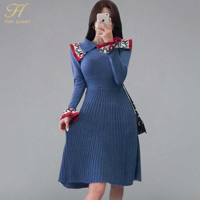 H Han Queen Vintage Jacquard Flare Sleeve Sweater Dress Women Autumn Winter Knitted A-line Dress Casual Fashion Elastic Vestidos