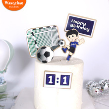 Boy Football Sports Theme Happy Birthday Cake Topper Cartoon Kids Soccer Birthday Cake Decoration Party Supplies