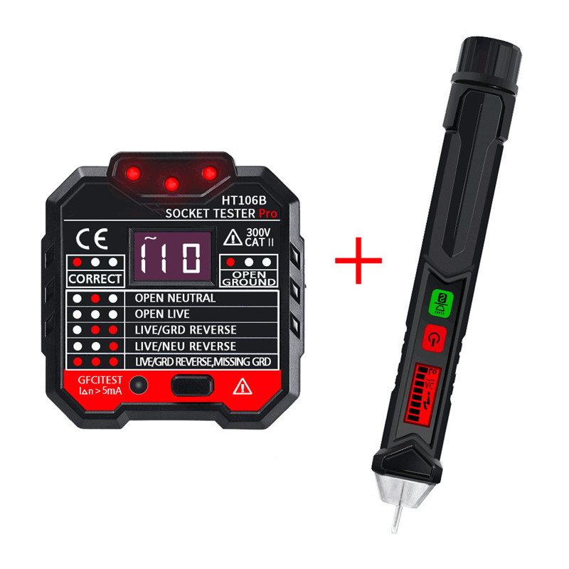 <font><b>HT106B</b></font> Socket Outlet Tester Circuit Polarity Voltage Detector With Winpeak ET8900 Voltage Tester Pen Durable image