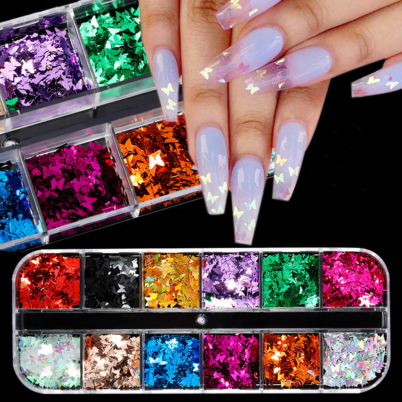 12 Grid/Set Holographic Nail Glitter Sequins Sparkly 3D Thin Butterfly Flakes Polish Decoration For Nail Art Accessories