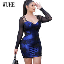 WUHE Autumn Lace Embroidered Water Soluble Backless Zipper Sexy Club Dress New Arrival Patchwork Mesh Sleeve Femme