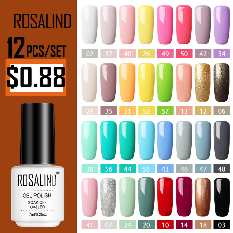 ROSALIND Nail Polish Set For Manicure LED UV Lamp Vernis Semi Permanent Uv Gel Nail Polish Base Top Coat Varnishes