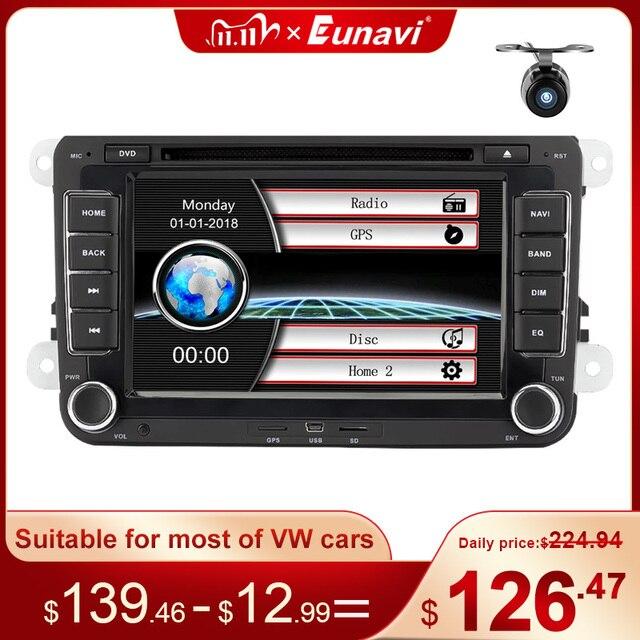 Eunavi Штатная магнитола системный блок автомагнитола магнитола для VW Volkswagen GOLF 6 Polo New Bora JETTA PASSAT B6 SKODA 2din с навигацией 2 din dvd мультимедиа автомобиля головное устройство GPS bluetooth блютуз