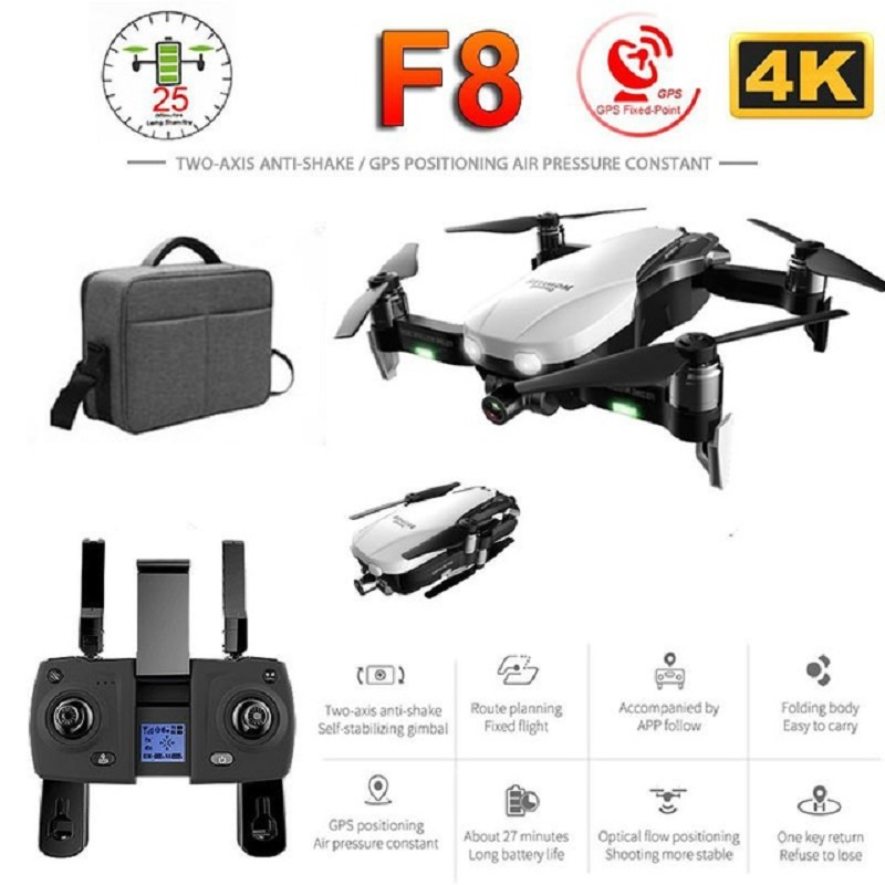 F8 Profissional Drone with 4K HD Camera Two-Axis Anti-Shake Self-Stabilizing Gimbal GPS WiFi FPV RC Helicopter Quadrocopter Toys image